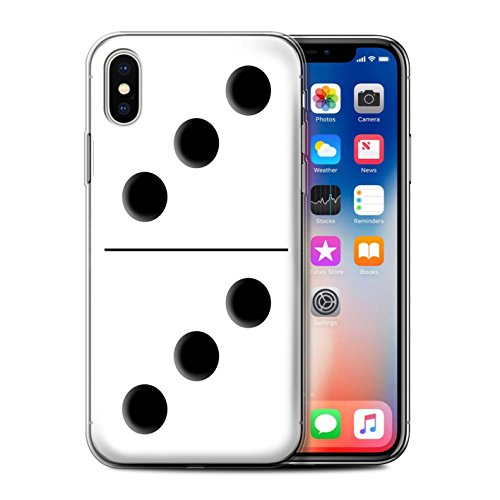 Stuff4 Gel TPU Hülle / Case für Apple iPhone X/10 / Pack 5pcs / Domino/Dominos Kollektion Weiß Kachel 3/3