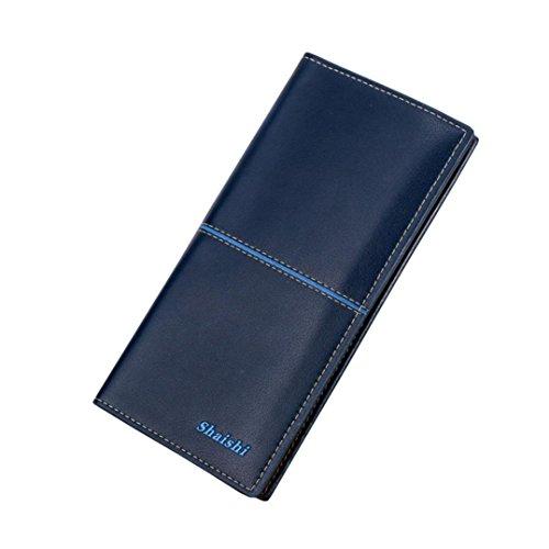 Bluestercool Moda Portafogli di pelle Pulsante Borsa Signora Lungo Da Donna Borsetta Blu