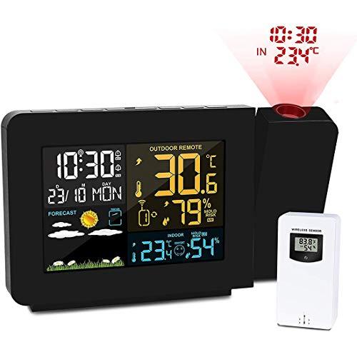 YNND Reloj Despertador De Clima De Proyección con Sensor Exterior, Proyector De Techo/Pared LCD Pantalla...
