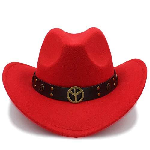 GZ Mode Winter Cowboy Wildleder Look Wild West Kostüm Damen Cowgirl Hut Roll-Up Hut Für Frauen Männer,rot,56-58 (Wilder Mann Kostüm)
