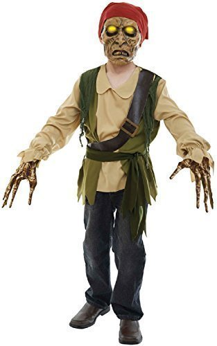 Kind Pirat Kostüm Skelett - Fancy Me Kinder Jungen Mädchen Leuchtend Geräusche Zombie Skelett Piraten Halloween Horror unheimlich TV Buch Film Kostüm Kleid Outfit 7-12 Jahre - 10-12 Years