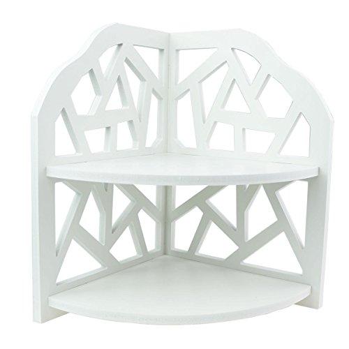 Tandi Bianco Pastorale Hollow Supporto armadietto angolare mensola/Lattice Stile Shabby Chic, Colore: Due Strati per vasi Candela Ornamenti
