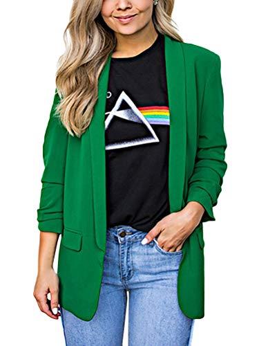 Minetom Femme Élégant Blazer à Manches Longues Slim Fit OL Bureau Affaires Veste de Costume Chic Manteau Cardigan Blouson Veste Vert FR 38