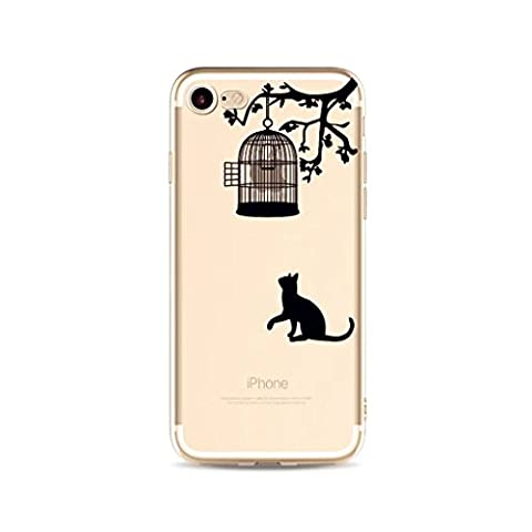 iPhone SE/5/5S case bumper MUTOUREN mobile phone serise ultra Slimtpu Silicone Skin Cover Case Transparent Clear Bumper TPU Soft Case Open Cage Case for Cats anyi-scratch drop-resistant case