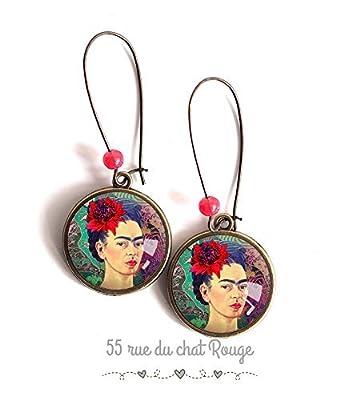 Boucles d'oreilles cabochon, Frida Kahlo, mexique, portrait femme, vert rouge violet, bohême chic, boho, gypsy