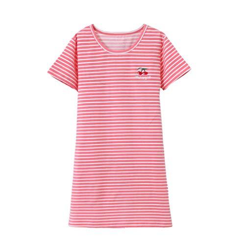 JERFER Kinder Mädchen Kleid Kurzarm Gestreift Kirsche Drucken Pyjama Nachtwäsche Nachthemd (Puppe Und Nachthemd Mädchen)