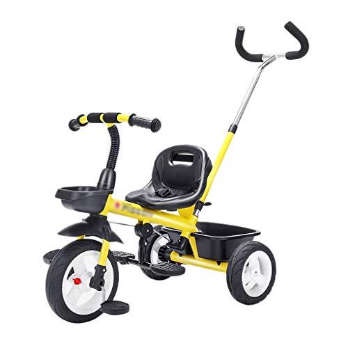 Dreiräder Kinderdreiräder Trike Bike Kleine Bikes Big Wheel Stahlrahmen Tricycles Kinder Mit Schiebegriff Alter 2-6 (Color : Yellow, Size : 79 * 48 * 101cm)