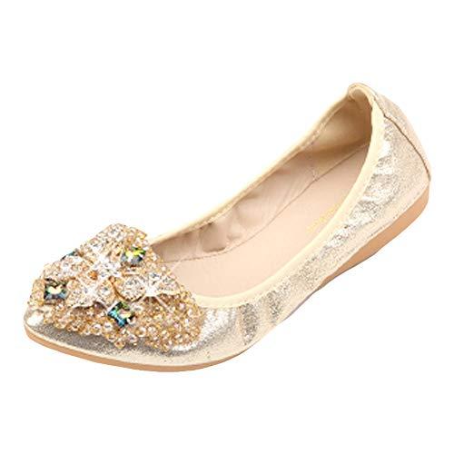 Lonshell Damenschuhe mit Strass Elegant Halbschuhe Flache Schuhe Vintage Leder Loafers Walkingschuhe Flache Schuhe Slipper Auto Fahren Schuhe Casual Bootsschuhe Erbsen Schuhe