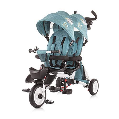 Chipolino Tricycle Dreirad 2Fun für Zwillinge, klappbar, Lenkstange, Gummiräder, Farbe:türkis