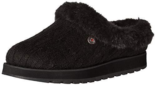 Skechers Damen Keepsakes-Ice Angel Flache Hausschuhe, Schwarz (Black Cable Knit Sweater/Faux Fur Trim BBK), 41 EU
