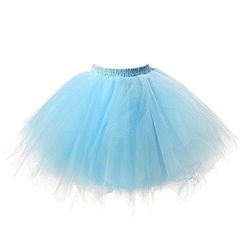 Honeystore Damen's Tutu Unterkleid Rock Abschlussball Abend Gelegenheit Zubehör Blau (Schuluniform Karo-rock Im)