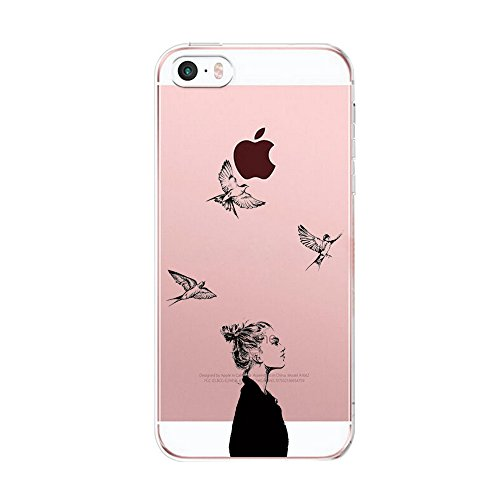 Vanki® Coque iPhone 5/5S/SE, Housse Transparente iphone Etui Silicone ,Flexible Lisse Housse TPU Souple Etui de Protection Silicone Case Soft Gel Cover Anti Rayure Anti Choc pour Iphone5/5S/SE 3