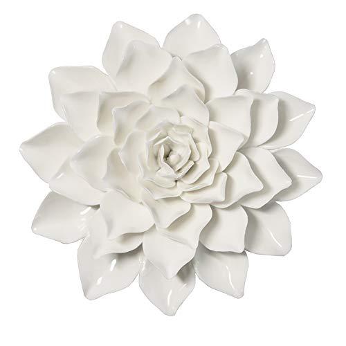ALYCASO 3D-Wanddekoration, handgefertigt, Keramik, Blume, für Schlafzimmer, Wohnzimmer Garten φ 6 IN Snow White Dahlia -