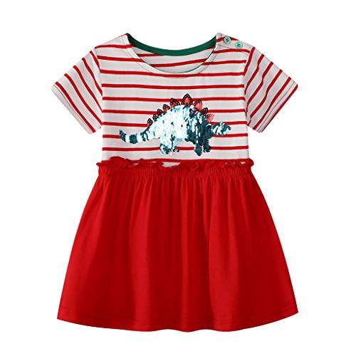 ß Kinder Kurzarm Gestreiften Dinosaurier Pailletten Print Kleid Print Casual Dress Neugeborenes Kinderkleidung Vatertagsgeschenk Unisex Cartoon Print Hosen Outfits ()