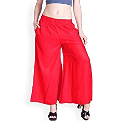 Lux Lyra Plain Palazzo For Womens(Red_Free Size)