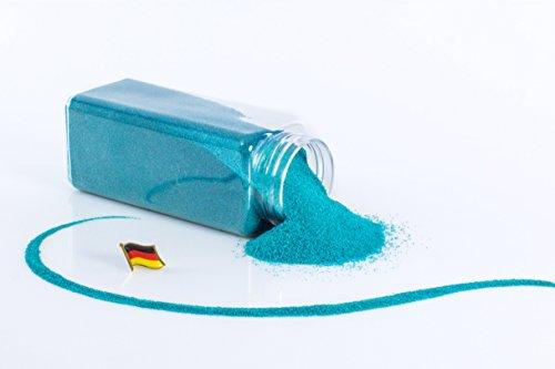 Arena de color / Arena decorativa TIMON, turquesa, 0,1 - 0,5 mm, 605 ml bote, Producido en Alemania - Tierra artificial - monsterkatz