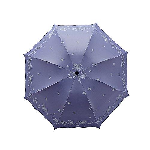 DaoRier Rüschen Print Lady 's Sonnenschirm Outdoor UV-Schutz Regenschirm, Violett, 65 cm