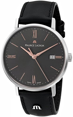 Maurice Lacroix Eliros Date Ladies Quartz Uhr, Grau, 30mm, Lederband, Gold
