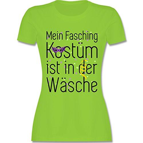Karneval & Fasching - Mein Fasching Kostüm ist in der Wäsche - tailliertes Premium T-Shirt mit Rundhalsausschnitt für Damen Hellgrün