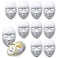 10 Full Face White Masks - Unisex - Plain Mask to Decorate & Design - High Quality PVC - Ideal for Halloween Props, Dress Up Parties, DIY, Arts & Crafts, Masquerade & More