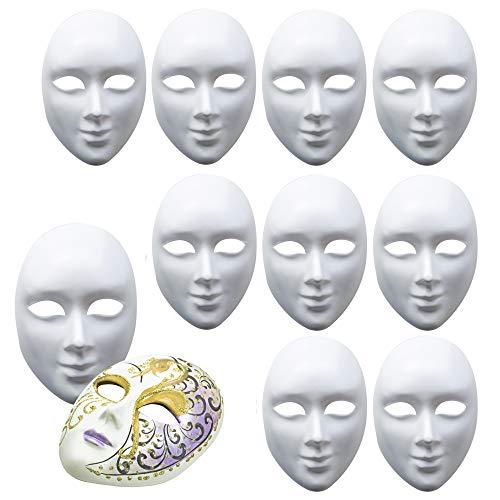 10 Máscaras Blancas Completa, Unisex - Máscara para Pintar De Disfraces, Decorar y Diseñar - PVC de alta Calidad - para Halloween, Cosplay, Bricolaje DIY, Manualidades, Carnaval y Mascarada.