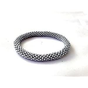 Gehäkelte Perlen Armband, Silber Farbe glasperlen rolle armband