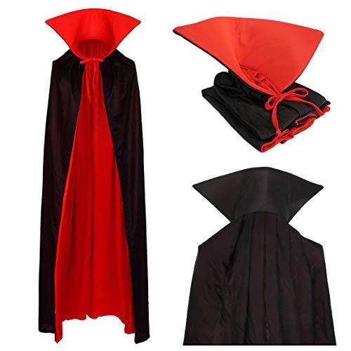 Vampire Cape Capuche Col Montant Manteau Noir Rouge 130cm pour Enfants et Adultes