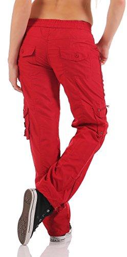 SUCCESS Damen Cargo Hose Casual Wear Chino Stoff Hose 5 Pocket Regular Fit Freizeithose 3301-3302 01-Rot