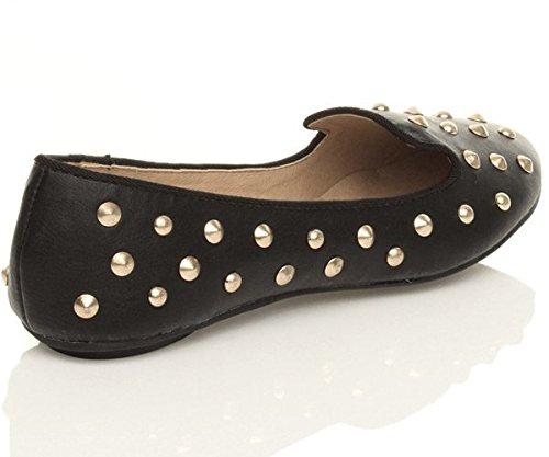Femmes plat clouté chaussons mocassins flâneur ballerine chaussures pointure Noir Mat