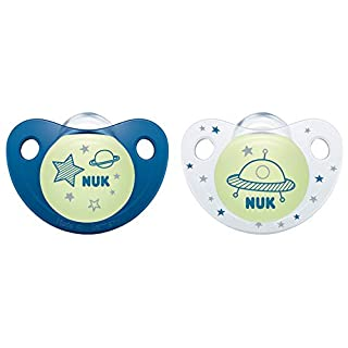 NUK Night & Day Silikon-Schnuller, kiefergerechte Form, 0-6 Monate, 2 Stück, blau