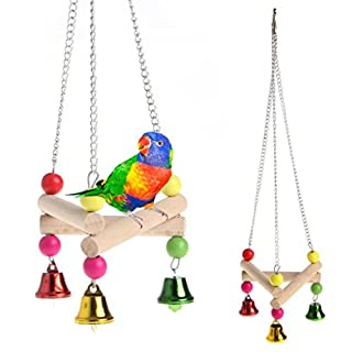 AmaMary Wooden Standing Frame for Parrot, 1 Pcs Pet Bird Parrot Bells Strings Swing Cage Toy Wooden Standing Frame For Parakeet Cockatiel Toys