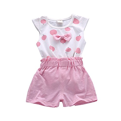 Baywell Kinder Baby Mädchen Sommer Kleidung Set, Bow-Knoten Sleeveless Tops + Shorts Outfit Anzug Sets (S/6-12Monate, Rosa) - Baby Sommer Kleidung