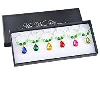 Souarts 6pcs Mixed Waterdrop Shaped Rhinesonte Wine Glass Charms Marker Tags Set with G...