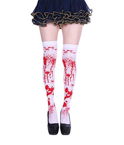 SAMGOO Kniestrümpfe Halloween Damen Weiße Blutige Zombie Strümpfe Kostüme Blutspritzern Bluthand Party Cosplay (Kniestrümpfe Cosplay Kostüm)
