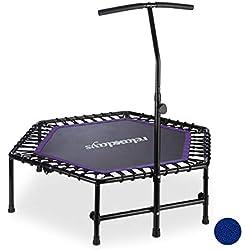 Relaxdays Trampoline intérieur Pliable, Barre Maintien, Hauteur réglable Fitness, 120 kg, Noir-Violet Adulte-Mixte, 126 x 124 x 113,5 cm