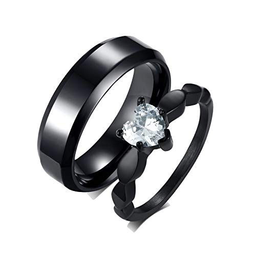 Amody 1 Paar Ringe Edelstahl Partnerringe Schwarz Ring 6mm Herz Zirkonia Hochzeit Verlobung Ring Set Frauen 60 (19.1) Männer 65 (20.7)