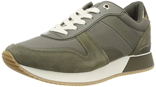 Tommy Hilfiger Damen Mixed Material Lifestyle Sneaker, Grün (Dusty Olive 011), 40 EU