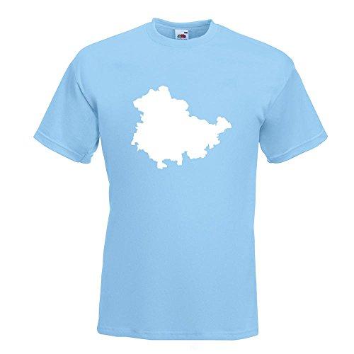 KIWISTAR - Thüringen Deutschland Silhouette T-Shirt in 15 verschiedenen Farben - Herren Funshirt bedruckt Design Sprüche Spruch Motive Oberteil Baumwolle Print Größe S M L XL XXL Himmelblau