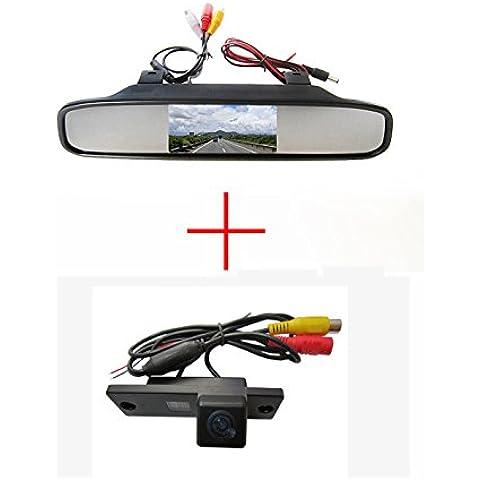 fuway CCD color coche reverso de visión trasera Aparcamiento Back Up cámara para Toyota 4Runner Land Cruiser Prado, con pantalla color LCD TFT Espejo retrovisor monitor de 4.3pulgadas monitor Backup para