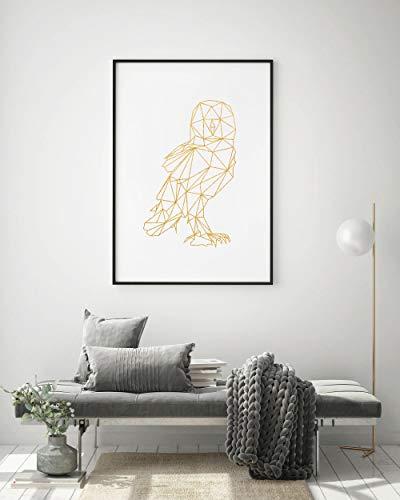Eule Dekor, Gold Akzente Geschenk, Vogel Zubehör, Eule Druck, geometrische FAUX Goldfolie Wandkunst, Hütte Haus Kunst, Cottage Land Home Print