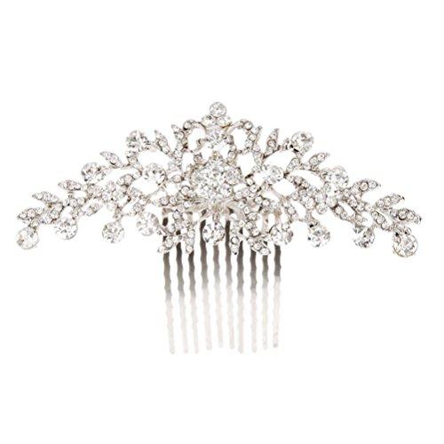 Pixnor Hochzeit Haarkamm Kristall Strass Blume Diamant Braut Haarkamm Clip Kamm Silber