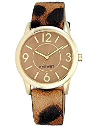Nine West Beige reloj de mujer de cuarzo con Esfera Analógica Pantalla y Correa de poliuretano color marrón NW/1786cmle