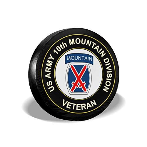 Bag hat Us Army Veteran 10Th Mountain Infantry Division Polyester Universal Spare Wheel Tire Cover Wheel Covers Jeep Trailer Rv SUV Truck Camper Travel Trailer Accessories 17 Inch -