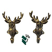 ISOTO 2pcs Deer Head-shaped Wall Hooks Cast Iron Decorative Rustic Single Hanger Animal Heavy Duty- for Coats, Bags, Towels,key and More,Home Farmhouse Decor Gift Vintage Design Wall Mounted