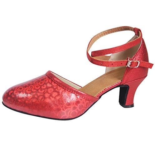 Dorical Damen Tanzschuhe Pumps Tanzschuhe Gesellschaftstanz Schuhe Sexy hochhackig Schuhe/Mädchen Sandalen Tanzschuhe/Ballsaal Standard Latein Dance Schuhe(Rot,40 EU)