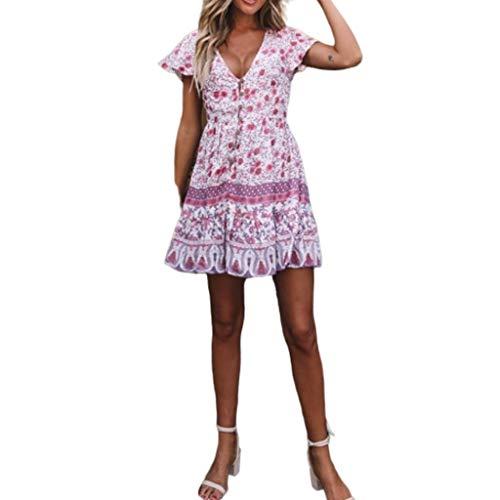 POPLY Damen Boho V-Ausschnitt Sommer Party Abend Strand Langes Kleid Sommerkleid Elegant Jahrgang Floral Drucken Cocktailkleider(ZC-Purple,XL) -