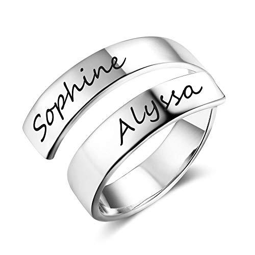 Grand made donna personalizzato twist ring 2 nome open regolabile inciso nome regalo mom daughter promise anello compleanno san valentino anniversario donna anello (argento, acciaio inossidabile)