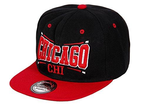 Snapback Basecap Starter Hat Hip Hop Cap Schirmmütze Baseballcap Baseball Mütze Kappe, Farbe wählen:Cap-19 CHI schwarz rot