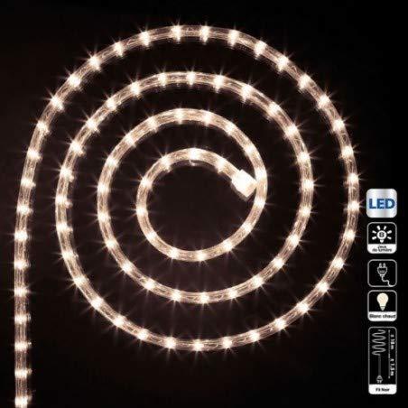 Déco Noël - Guirlande Tube lumineux 18 mètres Ampoules led Blanc chaud et 8 jeux de lumière