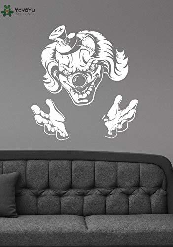 zhuziji Evil Jester Wandaufkleber Vinyl Halloween Wandtattoo Demonic Scary Kunstwandhauptdekoration Zubehör Abnehmbare Horro 70x75 cm